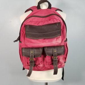 Timberland Vtg Pink Canvas Vegan Leather Backpack